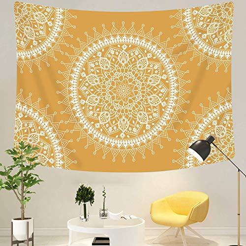 Dremisland Indio colgante de pared tapiz de flores mandala gitana Hippie psicodélico tapices bohemios Decoraciones de la sala de Navidad (Flor amarilla, M / 130 X 150 cm)