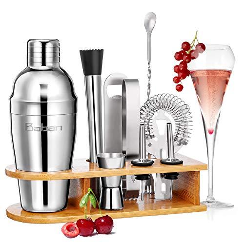 Baban Cocktail Shaker Set, 10tlg Cocktail Set, Bartending Set mit Bambus-Aufbewahrung, Cocktailzubehör 550ml Shaker, Geschenk für Männer und Frauen