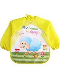 Pueri Baberos con Mangas Impermeables para Bebés Delantales de Lactancia y Alimentación Protector para Pinturas