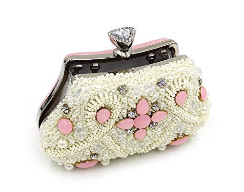WYB Farbe Bead Stickerei Abendessen/DIAMANT Abendtasche/aus hochwertigem Pearl/Clutch/Kette Handtasche rose