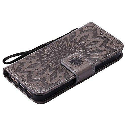 Custodia iPhone 5 / 5S / SE, cmdkd Wallet Custodia Bumper per iPhone 5 / 5S / SE. (Rosso) Grigio