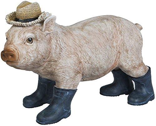 A.G.S. Dekofigur Ferkel Schweinchen mit Gummistiefeln Gartenfigur Dekofigur WildlifeBauernhof