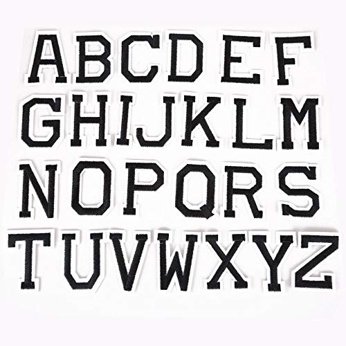 IGORW 26 Stücke Alphabet Buchstaben Patch DIY Gesticktes Eisen Auf Flecken Nähen Auf Applique für Hut Kleidung Rucksack T-Shirts - Applique Alphabet