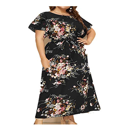 Damen Sommer Casual Kurzarm Maxikleid Bohemian Floral Print Langes Kleid Rundhalsausschnitt Gürtel Elegant Große Größe Kleider von Damen Kleidung Schwarz