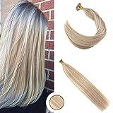 Ugeat #P18/613 Highlight Blond Extensions de Cheveux Humains Nano Rings 22'/55cm Bresilien Extensions Tissage Naturel