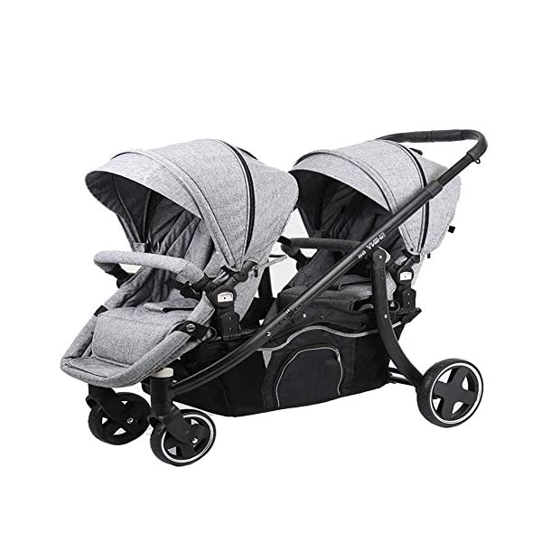 REMTI Pushchairs Twins Baby Stroller Portable Folding Sit Lie Split Two Baby Children Double Cart,Gray  Product Name: baby cart Applicable age: 1 months ~3 years Color classification: light grey, violet. For twin babies, multiple modes of regulation. The double deck is designed by the back board, and the baby is lying flat and sleeping. Cloth can be disassembled and washed, clean and convenient. 1