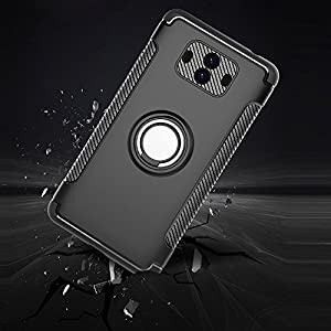 Mate 10 Pro Case, KolorFish [iArmor] [with 360 ° Kickstand] Rotating Ring Case [Dual Shockproof] Protection Cover Compatible with [Magnetic Car Mount] for Huawei Mate 10 Pro (Black)