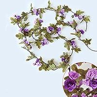 Zhuhaimei,230cm 51heads Flor Flor Rosa de Alta fidelidad de Rattan casa Decoracion(Color:Purplel)