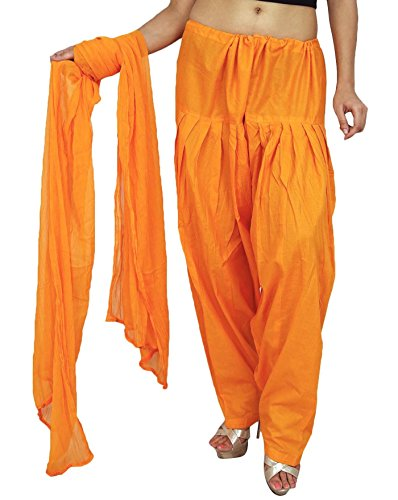 Plain aus reiner Baumwolle Salwar mit Chiffon Dupatta Frauen Traditionelle Bottoms Indien Orange