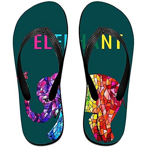 Zapatillas Chanclas Antideslizantes Unisex Patrón de Elefante de Color Brillante Sandalias de Playa geniales