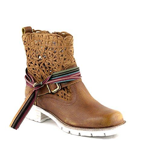 Felmini - Scarpe Donna - Innamorarsi com Castelo 8684 - Stivali Cowboy & Biker - Pelle Genuina - Marrone Marrone
