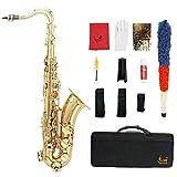 ammoon LADE Brass Bb Tenor Saxophone Sax Motif Sculpté Perle Blanc Shell Boutons Instrument à Vent avec des Gants de Cas Chiffon de Nettoyage Graisse Belt Brush