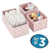 mDesign Set da 3 Organizer armadio a pois – Contenitori cameretta, bagno, camera ecc. – Portaoggetti bimbo di diverse misure in polipropilene – rosa e bianco
