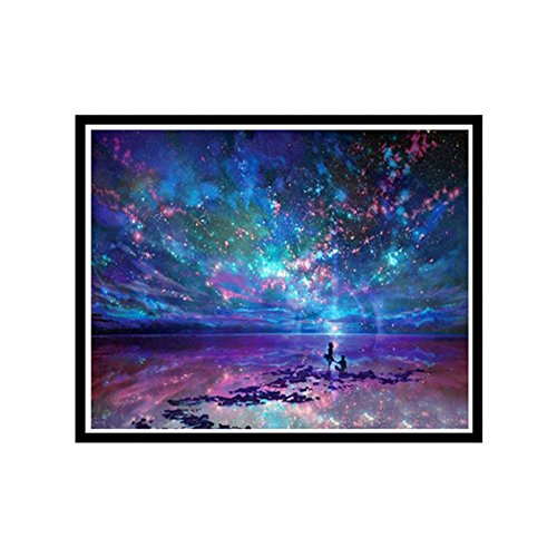 lzn 5D Diamant Stickerei Nachthimmel Malerei Landschaft runde Diamant Mosaik Kreuz Stich Näharbeit Wand Dekor (Mosaik-wand-dekor Für Wohnzimmer)