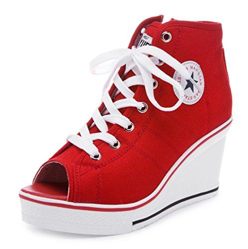 Wealsex canvas schuhe damen Wedges Sportschuhe sneaker damen weiß high top leinwand schuhe Rot