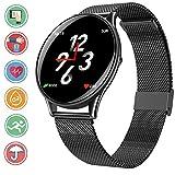 Bluetooth Smartwatch en Color de Alta definición, IP68 Sumergible Reloj Deportivo con Monitoreo de la Frecuencia Cardiaca Sincron de info Pulsera Inteligente Compatible con iOS y Android, SN58 Negro