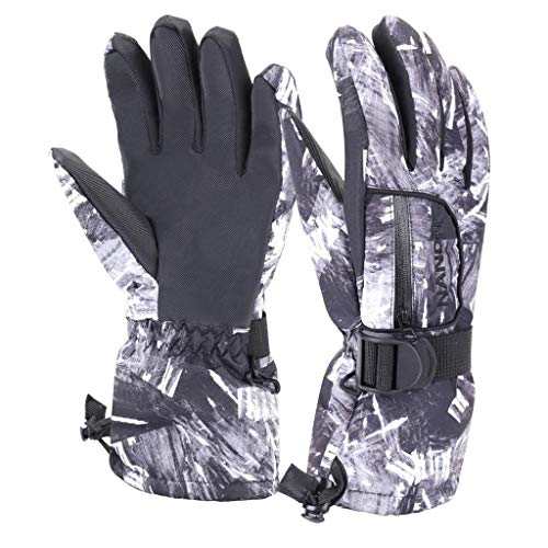 VERTAST Kinder Damen Herren Skihandschuhe Winddichte Wasserdichte Winter warme Handschuhe Fahrradhandschuhe, Schwarze Graffiti, L