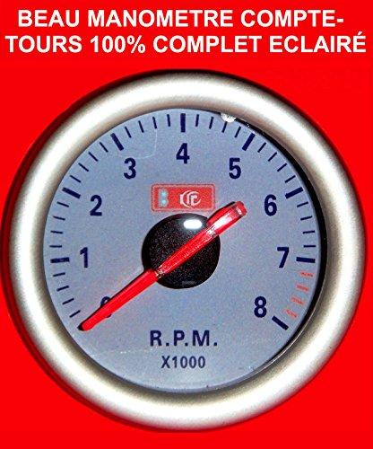 Superbe manómetro cuenta Torres 46o 8cilindros fondo color blanco a Eclairage. Raid Preparation...