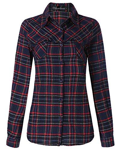 Auxo Damen Lose Bluse Karierte Langarmshirt mit Tasche V-Ausschnitt Oversize Oberteil Marine EU 36/Etikettgröße S (Marine-blau-karierte)
