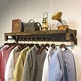 SKC Lighting-perchero Vintage madera maciza montado en la pared perchero estante de pared combinación estante de ropa conveniente para sala de estar dormitorio estudio rugoso / delicado / fácil de limpiar (120 cm)