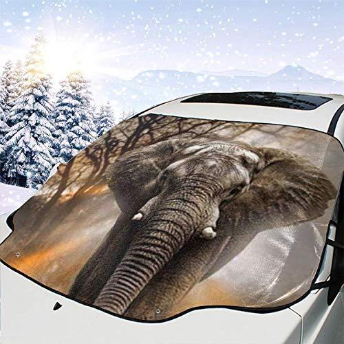 YinFive Elefanten-Auto-Windschutzscheibe, Frostschutz, magnetisch, Windschutzscheibe, Sonnenschutz, wasserdicht, Staubschutz und Eisschutz bei jedem Wetter
