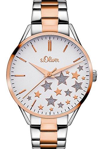 s. Oliver–Reloj de pulsera analógico para mujer cuarzo One Size, color blanco, Plata/rosé/Bicolor