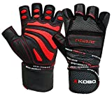 #8: Kobo WTG-13 Professional Leather Gym Gloves For Fitness / Functional Training Hand Protector Top Quality (Large)