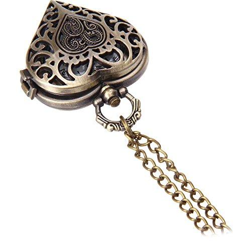 Leopard Shop Retro Tasca Orologio al Quarzo a forma di cuore numeri arabi Scala Hollow anteriore, Orologio da polso
