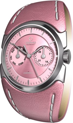 Obaku By Ingersoll Ladies Pink Dial Pink Leather Strap Watch