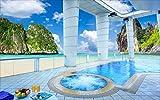 Fototapete Vlies Tapete 3D wallpaper Wanddeko Design Moderne Anpassbare Wandbilder Malediven Balkon Blick Aufs Meer Kokosnuss - Tv Hintergrund