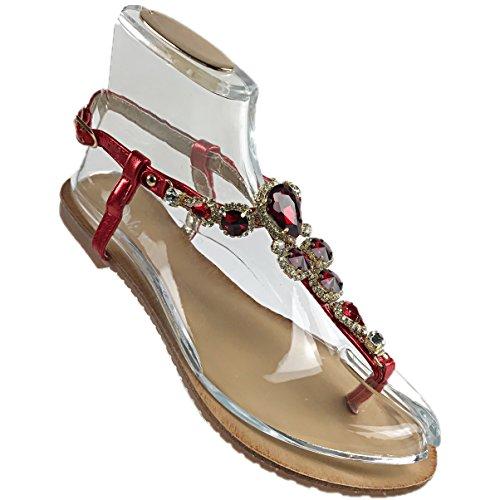 Flip Flops Sapatos Sandália De Strass Sapatos Sandálias Cinta Sandálias De Praia Flip-flop Plana, Senhoras 0009927 Vermelho
