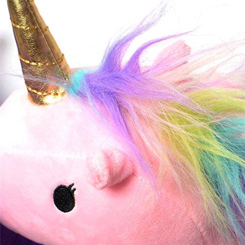 Licorne Chaussons Slip-on en Peluche Pantoufle Unicorn Adulte Taille 35-40 Rose