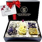 Bio Badepralinen Geschenkset Divine Moments/Höchste Qualität/Badekugeln Weihnachtsgeschenk in hochwertiger Geschenkbox mit Satin Ausbettung + Schleife/Vegane Geschenk-idee für die Frau