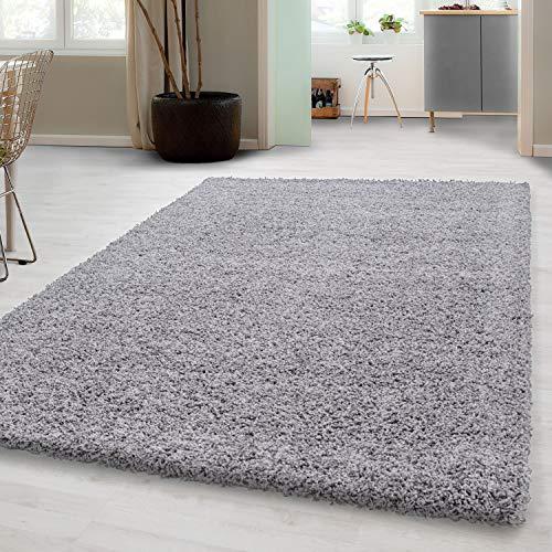 Hochflor Shaggy Teppich für Wohnzimmer Langflor Pflegeleicht Schadsstof geprüft 3 cm Florhöhe Oeko Tex Standarts Teppich, Maße:80x150 cm, Farbe:Hellgrau