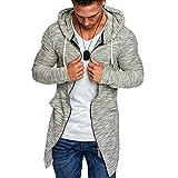 Riou Herren Sweatjacke mit Kapuze Strickjacke Lang Open Front Cardigan Slim Fit Basic Männe Frühling Herbst Grobstrick Pullover Jacke