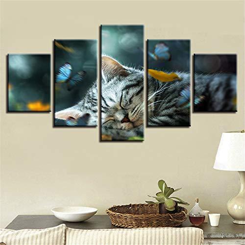 CQMEI Leinwand Malerei, gedruckt Leinwand Malerei Frame Art 5 Stück süße Katze im Schlaf und Schmetterling Fliegende Bild Poster modulare dekorative Wand