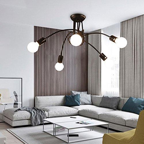 Pendelleuchten Industrielle Deck Deckenleuchte Edison Bulb Schmiedeeisen 5 Lampenhalter Semi Flush Kronleuchter Pendelleuchte In Schwarz