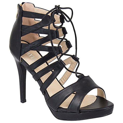 Mesdames Femmes Découpe à lacets talon haut cheville bretelles gladiateur Sandales Chaussures Taille Noir - PU noir