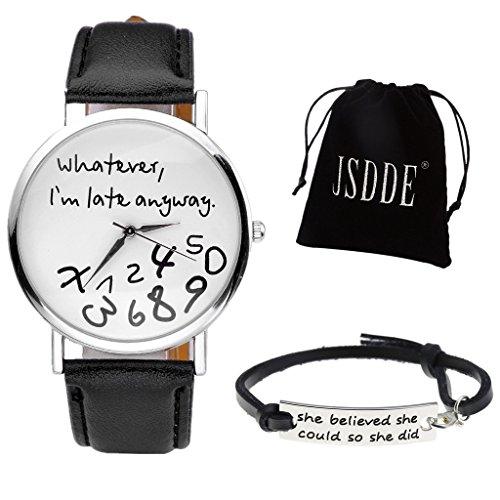 JSDDE Uhren Set Vintage 'Whatever,I'm late anyway' Illusion Armbanduhr + Echt Leder Armband mit Geschenk Samtbeutel