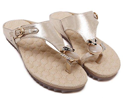 Fortuning's JDS Donne strass costellata di volpe dell'anello della punta del sandalo piatto pantofola Oro