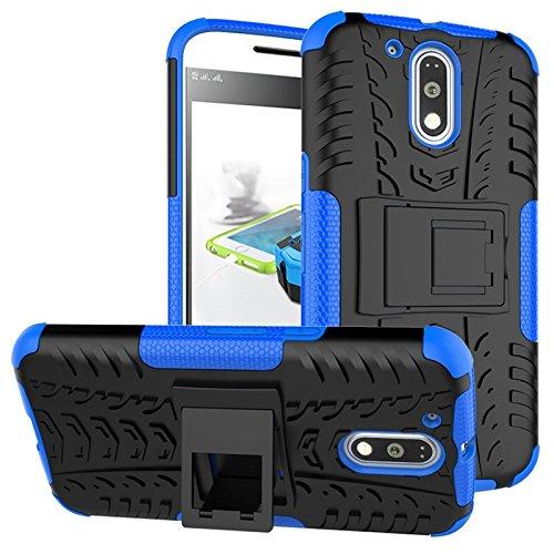 Chevron Hybrid Kick Stand Back Cover Case for Moto G Plus 4th Gen (G4 Plus / 4th Generation) (Blue)