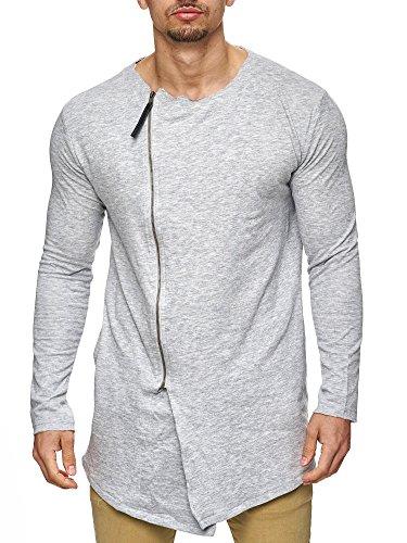 Sublevel Herren Oversize Long-Sweatshirt mit Eingriff-Taschen Sweatjacke Strickjacke mit Kapuze 20519 Schwarz S M L XL XXL Hellgrau