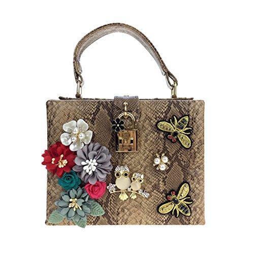 Single Schultertasche mit drei-dimensionale Blume und der Wind bee Handel single Schultertasche Handtasche Stickerei Camel