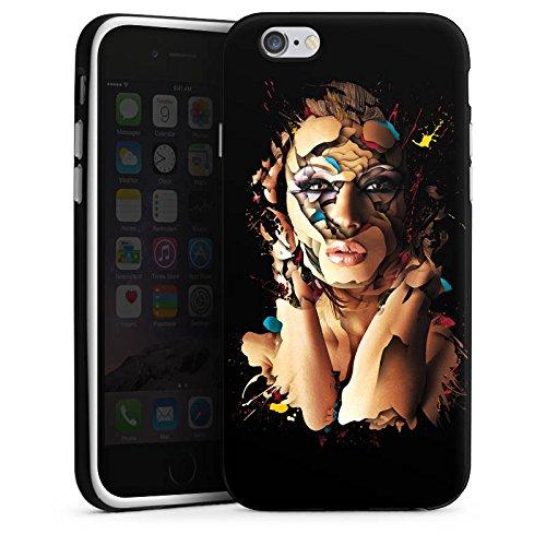 Apple iPhone X Silikon Hülle Case Schutzhülle Frau Gesicht Augen Silikon Case schwarz / weiß