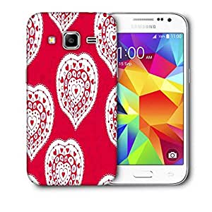 Snoogg White Heart Pink Pattern Printed Protective Phone Back Case Cover For Samsung Galaxy CORE PRIME