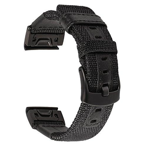 TRUMiRR Armband kompatibel mit Garmin Fenix 3 / HR / 5X Armband, 26mm Quick Release Easy Fit Armband Woven Nylon & Lederarmband Sport Uhrenarmband für Garmin Fenix 3 / Fenix 3 HR/Fenix 5X (Fenix Garmin Montieren)