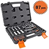 TACKLIFE Steckschlüsselsatz SWS4A 87 teilig 1/4 Zoll Steckschlüsselsatz mit Steckschlüssel, Ratschenschlüssel und Bits