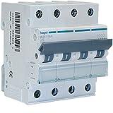 Hager MUN663A Interruptor Automático Magnetotérmico Serie MU, 3P+N, 63A, curva C, 6KA