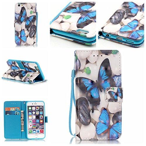 Ooboom® iPhone 5SE Custodia 3D Magnetico Libro Flip Folio in Pelle PU Cuoio Case Cover con Funzione Supporto per iPhone 5SE - Piuma Nero Farfalla Blu