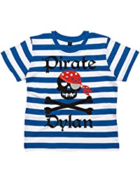Edward Sinclair Personalised Pirate Skull and Cross Bones Striped T-Shirt